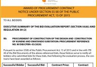 AWARD OF PROCUREMENT CONTRACT:  KUNENE AND OMATANDO SUBSTATION